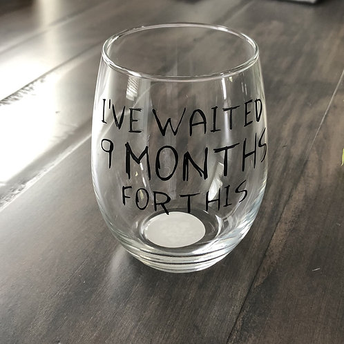 9 Months Wine Glass