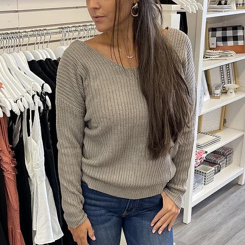 Grey Knit Knot Sweater