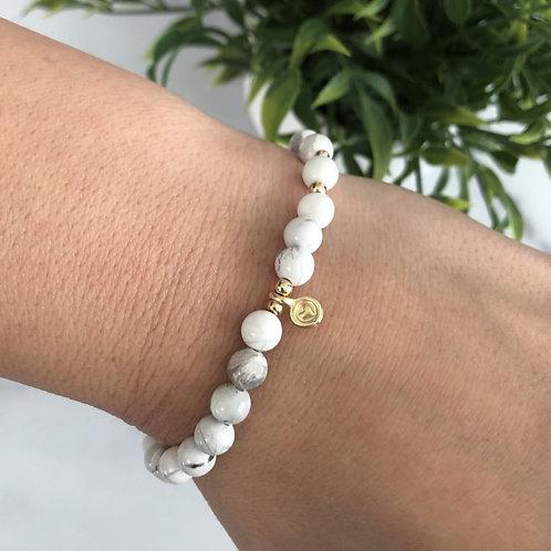 White Marble Bead Heart Bracelet
