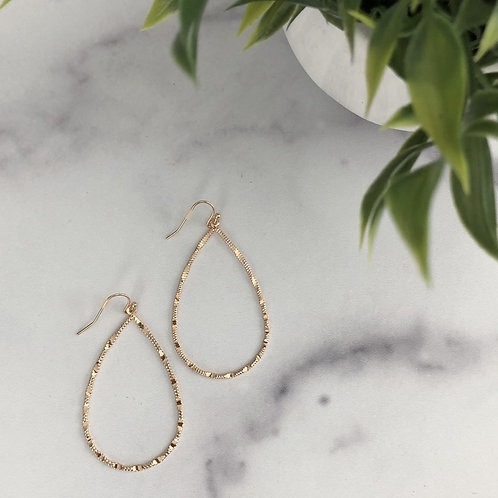 Gold Wired Textured Earrings