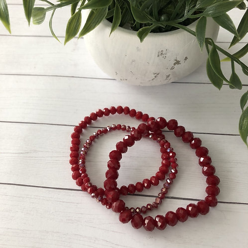 Burgundy Bead Bracelet Set