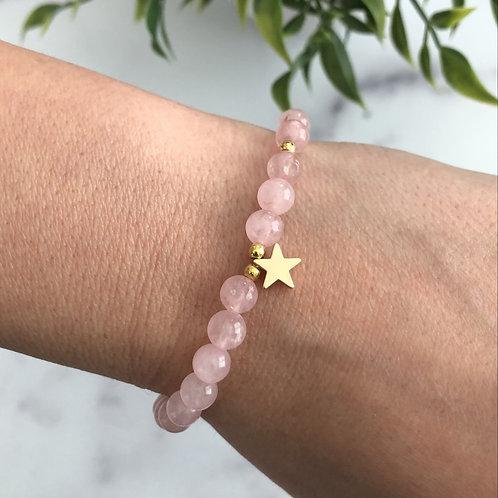 Pink Bead Star Bracelet