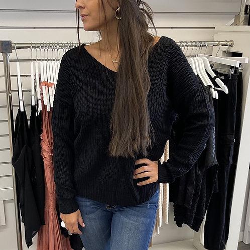 Black Knot Knit Sweater