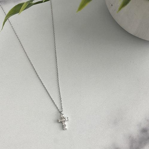 Rhinestar Cross Charm Necklace
