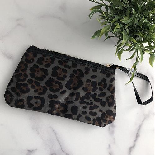 Grey Leopard Cosmetic Bag