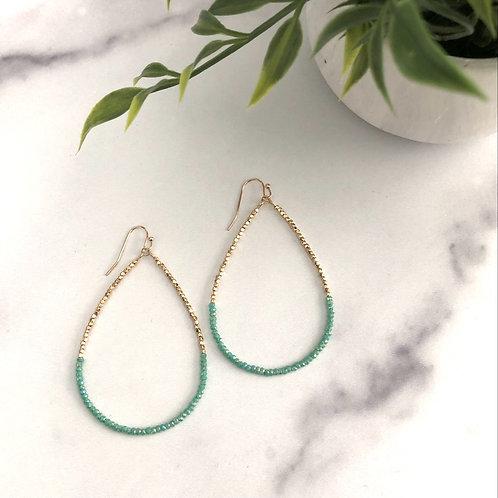 Turqouise Gold Bead Earrings