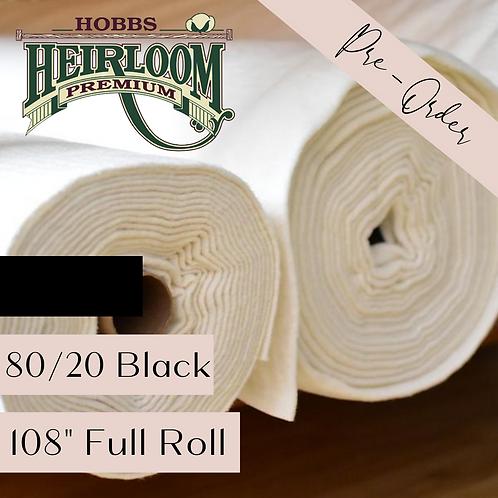 "Heirloom Premium Cotton Blend Black 80/20 - 108"" x 30 yds FULL ROLL"