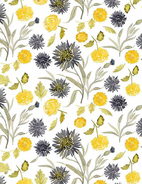 Mums & Cornflowers Yardage - Meant to Bee Collection