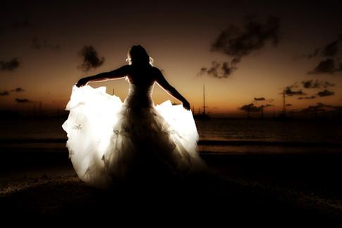 Siluette wedding bride