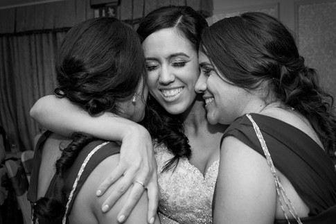 Emotional bride and Bridesmaids