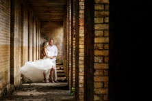 Wedding couple old building