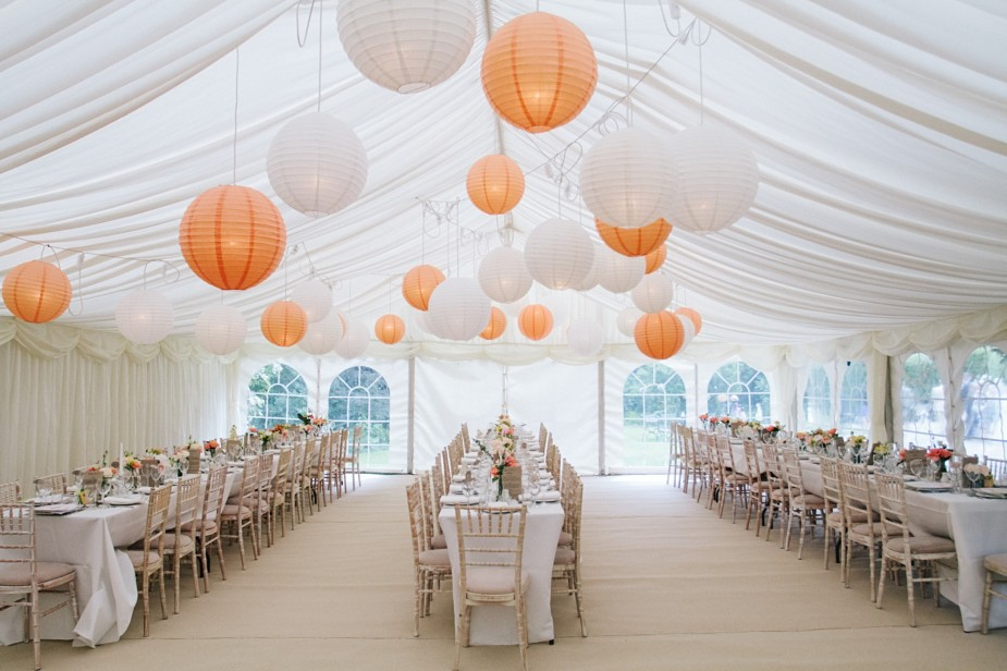 orange paper globes trestle cheltenham chairs