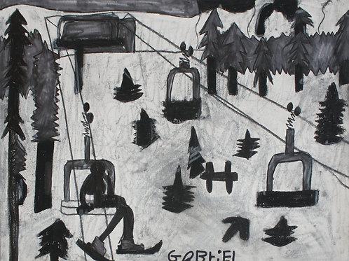 Night Skiing by Gabe (Framed)