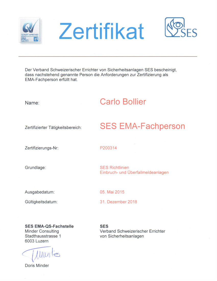 SES-Zertifikat EMA-Fachperson