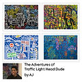 Traffic Light Head Dude Greetings Cards (4 Pack) by AJ