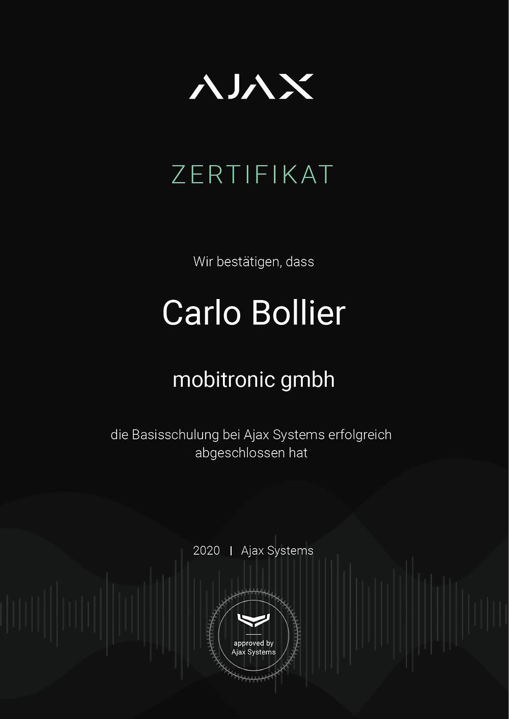 Zertifkikat Jablotron Alarmsysteme
