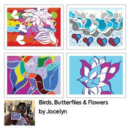 Birds, Butterflies & Flowers Greetings Cards (4 Pack) by Jocelyn