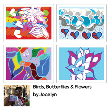 Birds, Butterflies & Flowers Greetings Cards (4 Pack) by Jocelyn