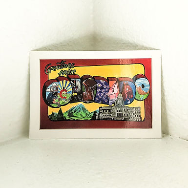 """Postcard - """"Greetings from Colorado"""" 4x6in"""