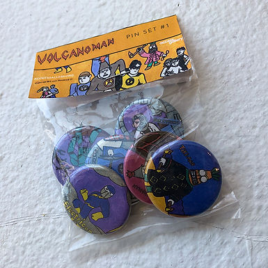 Volcano Man Buttons by Lorne T.