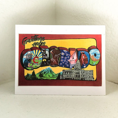 "Greeting Card - ""Greetings from Colorado"" 5.5in x 4in"