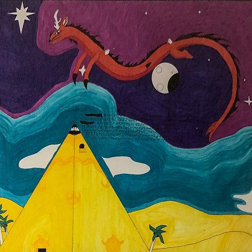 Night Flight Over Pyramid by Angel (Framed)