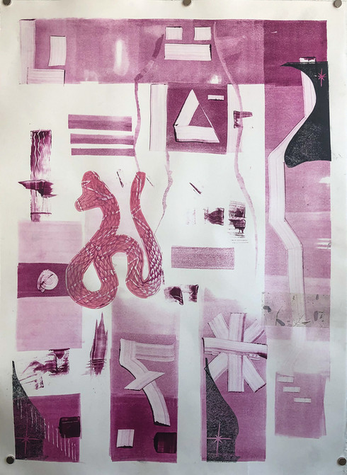Untitled 23 Monoprint by Javier 21in x 28.75in