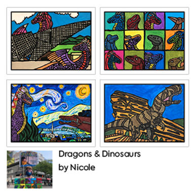 Dragons & Dinosaurs Greetings Cards (4 Pack) by Nicole