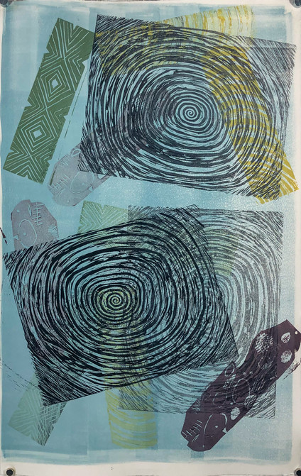 Untitled 6 Monoprint by Jareth 13in x 21in