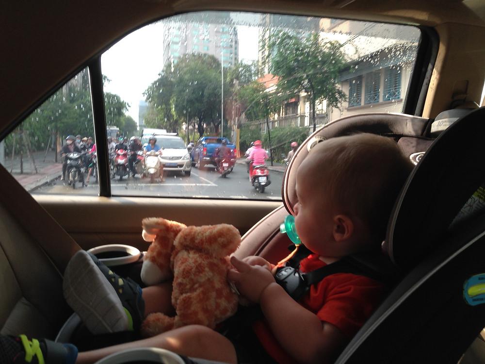 Checking out the Saigon traffic