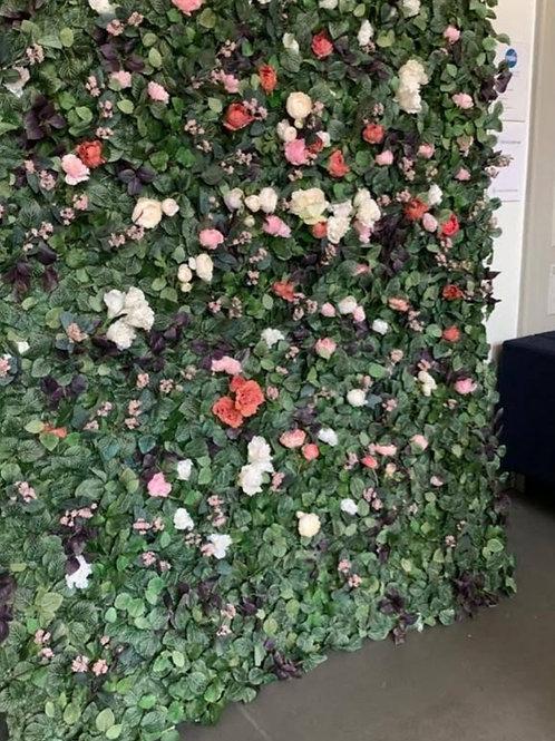 Kukkaseinä toiveväreillä (tekokukat)