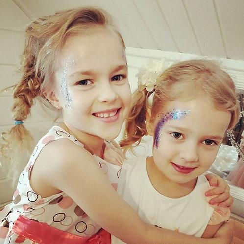 Lasten glitter-kasvomaalaus max. 15 hlö