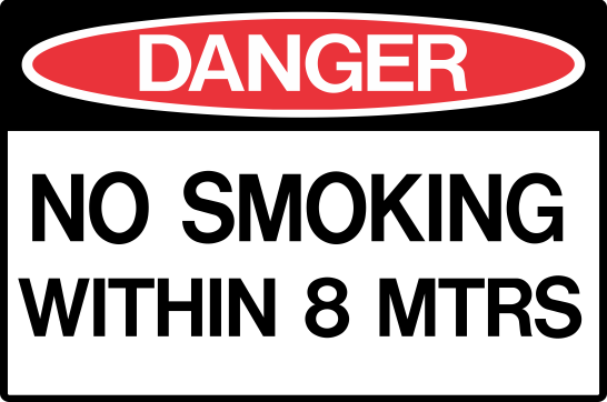 NO SMOKING WITHIN 8 METRES