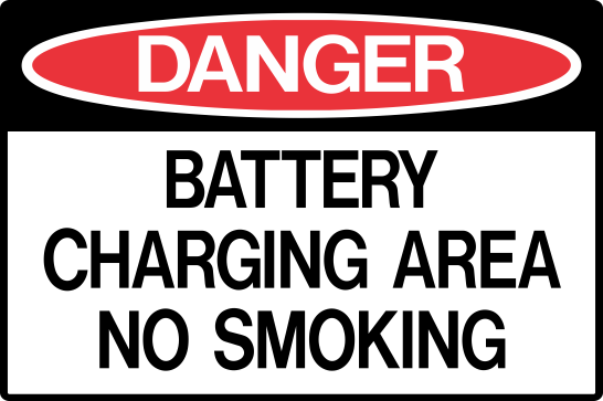 BATTERY CHARGING AREA - NO SMOKING