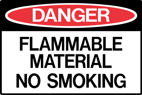 FLAMMABLE MATERIAL - NO SMOKING
