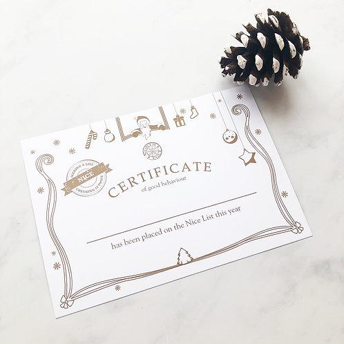 A5 Nice List Certificate