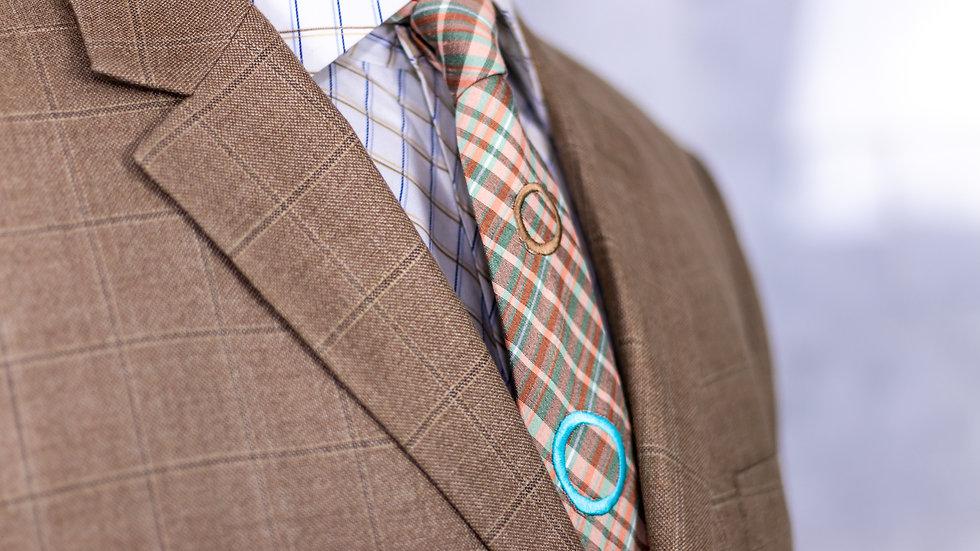 Sandy Plaid Circle Tie