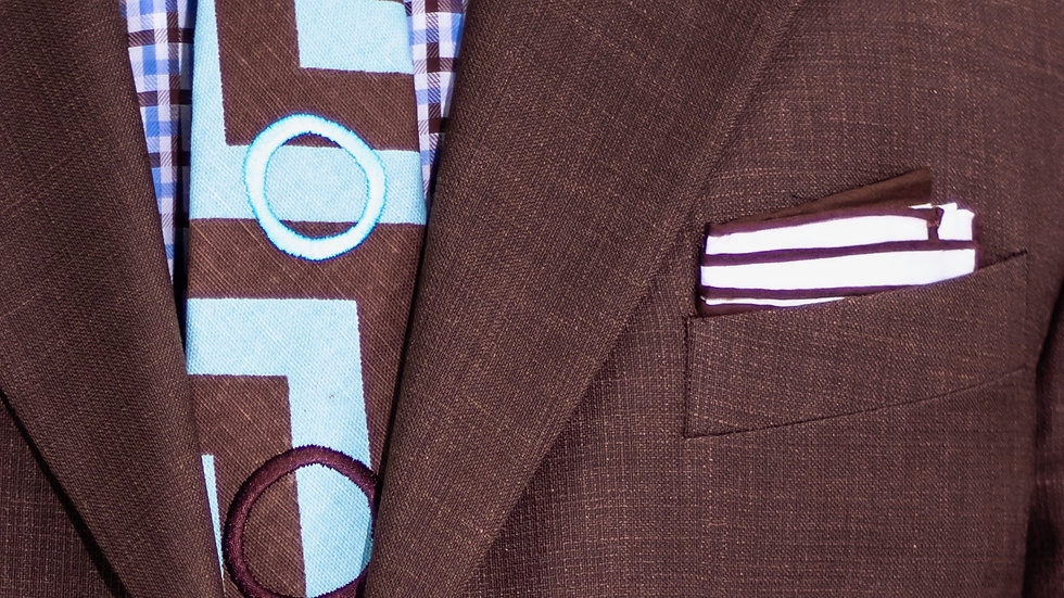 Brown and Teal Circle Tie