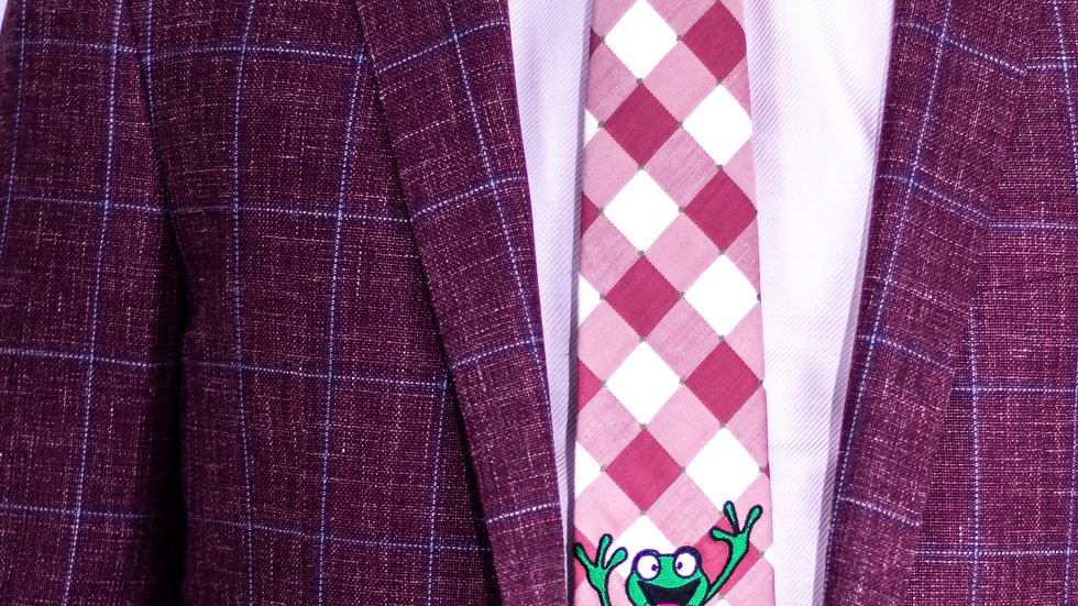 Salmon Checkerboard Frog Tie