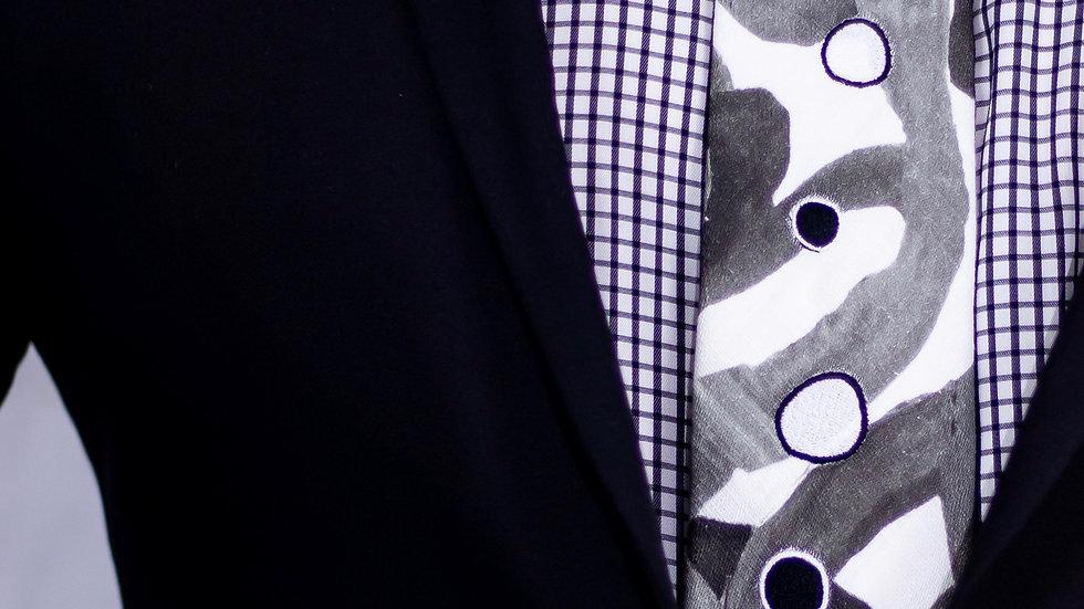 Grey and White Fish Tie