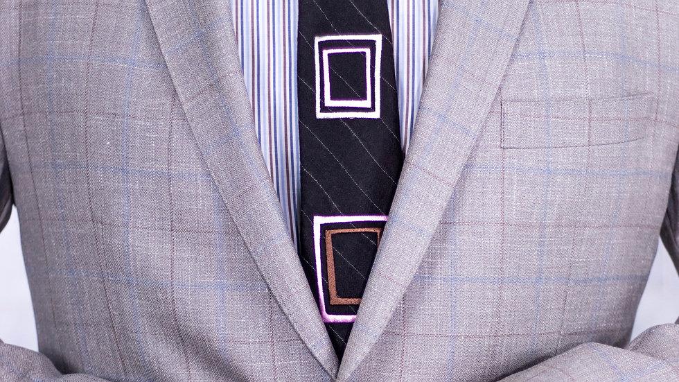 Square Brown Wool Tie
