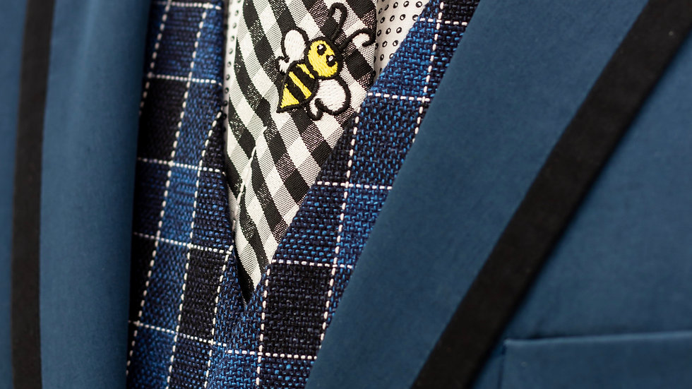 Black and White Gingham Bee Tie