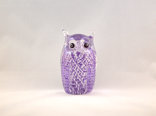 Ray Annenberg Art Glass Bubbled Owl in Lilac