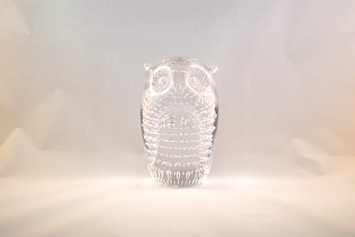 Whitefriars Glass Bubbled Owl 1980 in Flint