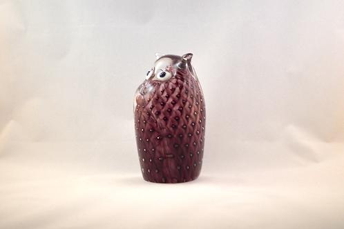 Ray Annenberg Art Glass Bubbled Owl in Aubergine