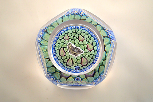 Whitefriars Pre-production Trial Partridge in a Pear Tree Xmas Paperweight