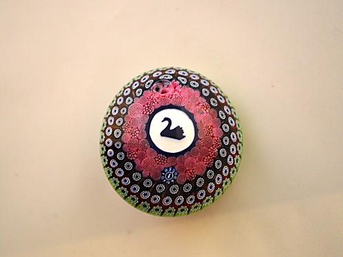 Whitefriars Pre-production Trial Swan Silhouette Paperweight Millefiori Button B