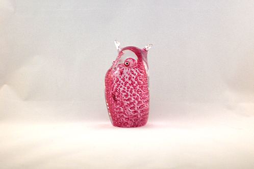 Ray Annenberg Art Glass Bubbled Owl in Pink