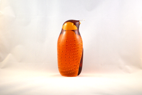 Whitefriars Glass Bubbled Penguin 1980 in Gold