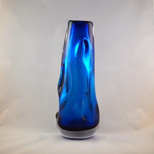 Whitefriars Wobbly Knobbly vase in Cased Blue